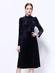 Gaine Robe Femme Sortie Sexy Sophistiqué,Couleur Pleine Col Roulé Midi Manches Longues Bleu Polyester Hiver Taille Normale Non Elastique