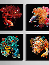 E-HOME Stretched Canvas Art Color Tail Goldfish Decoration Painting One Pcs