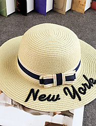 Women's Fashion Vintage Wide Brim Floppy Straw Hat Sun Hat Beach Cap Bowknot Casual Holiday Outdoors Summer