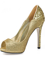 Heels Summer Club Shoes Synthetic Wedding Party & Evening Dress Black Gold