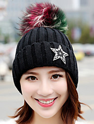 Winter Rhinestones Five - pointed Star Colored Hair Ball Plus Velvet Knit Wool Hat