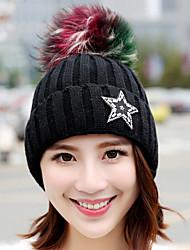 зимние стразы пять - пятиконечная звезда цветные волосы мяч плюс бархат вязать шляпу шерсти