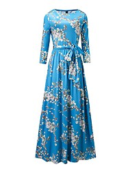 Women's Bow Going out Casual/Daily Beach Vintage Simple Boho Swing Dress,Floral Bow Ruched Round Neck Maxi Long Sleeve Polyester Blue Spring Summer