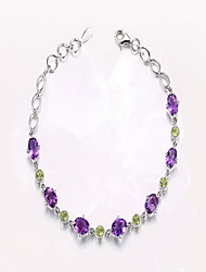 Women's Chain Bracelet Crystal Crystal Alloy Natural Fashion Round Light Purple Jewelry 1pc