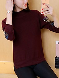 2016 new winter influx of Korean women long-sleeved sweater and a half high collar sweater female slit bottoming shirt female hedging