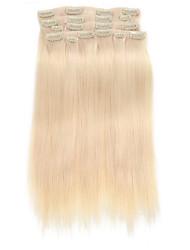 9pcs / set clipe de 120g de luxo em extensões do cabelo platium cabelo humano de 16 polegadas 20 polegadas 100% reta loira para as mulheres