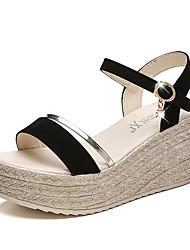 Sandalen-Outddor-PU-Keilabsatz-Komfort-Schwarz Gold