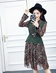 Sign Nett 2017 new Korean version of the small floral silk dress + knit vest piece Free Belt