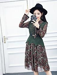 assinar nett 2017 nova versão coreana do vestido floral pequeno de seda + pedaço colete de malha cinto livre