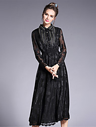 Women's Casual/Daily Work Party/Cocktail Vintage Street chic Sophisticated A Line Sheath Dress,Solid Jacquard Lace Bow Shirt Collar Midi