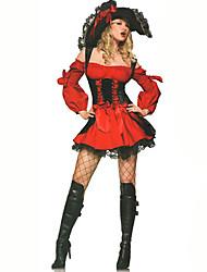 Costumes de Cosplay Sorcier/Sorcière Fête / Célébration Déguisement d'Halloween Rouge Couleur Pleine Carnaval Féminin Coton