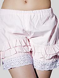 Pantalones Amaloli Rococó Cosplay Vestido  de Lolita Rosado Un Color Shorts Para Mujer Algodón