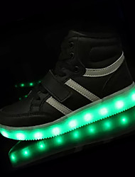 Sneakers Light Up Shoes PU Spring Fall Outdoor Walking Lace-up Magic Tape Flat Heel Gold White Black Silver Blushing Pink 2in-2 3/4in