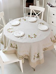 Round Embroidered Tablecloth   Square Linen Tablecloth 175x175cm (72x72 inches)