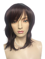 Medium Long Wig Synthetic Fiber Wig Fashion Dark Red Colorful Costume Costume Wig