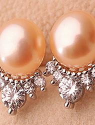 Boucles d'oreille goujon Perle Perle Alliage Mode Bijoux Blanc Orange Violet Bijoux Décontracté Sports 1 paire