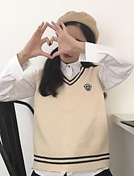 Sign College Wind jianling will get badges V-neck knit vest