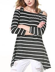 Tee-shirt Femme,Rayé Décontracté / Quotidien Chic de Rue Printemps Automne Manches Longues Epaules Dénudées Polyester Moyen