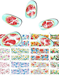 1pcs 12design Beautiful Flower Image Nail Art Sticker Full Cover Water Transfer Decals Manicure Beauty BN13-24