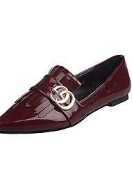 Dames Platte schoenen Comfortabel PU Lente Comfortabel Platte hak Zwart Bordeaux Plat