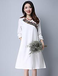 2017 thé de printemps robe longiligne coton importante littérature ethnique zen nouveau à manches longues robe de couture