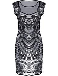 vaina / columna de ilusión escote corto / mini vestido de cocktail de poliéster con lentejuelas