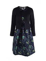 Gaine Robe Femme Sortie Grandes Tailles Vintage,Fleur Col Arrondi Mi-long Manches Longues Polyester Automne Taille Normale Micro-élastique