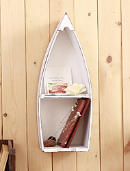 Wall Decor Wood Contemporary Country Rustic Small Boat Wall Shelves Wall Art 1 Pc