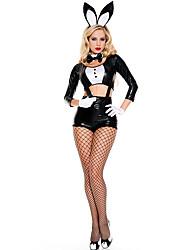 Disfraces de Cosplay Bunny girl Festival/Celebración Disfraces de Halloween Negro Un ColorLeotardo/Pijama Mono Top Pañuelo Guantes Para