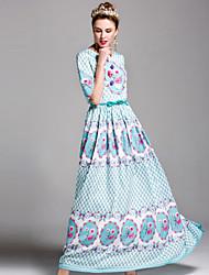 Damen Lose Kleid-Ausgehen Einfach Druck Rundhalsausschnitt Maxi ½ Länge Ärmel Polyester Frühling Sommer Mittlere Hüfthöhe Unelastisch