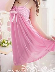 Ultra Sexy Vêtement de nuit Femme,Dentelle Sexy Couleur Pleine-Moyen Satin Dentelle Rose Aux femmes