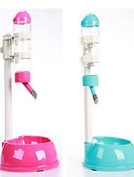 Chat Chien Bols & Bouteilles d'eau Animaux de Compagnie Bols & alimentation Diatonique double Bleu Rose Plastique