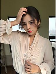 знак весной 2017 года элегантный сладкий шифон воротник рубашки с длинными рукавами рубашки обжимной отправить шпильку