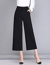 Women's Wide Leg Straight Wide Leg Chinos Pants,Casual/Daily Street chic Solid High Rise Zipper Polyester Inelastic Spring Fall