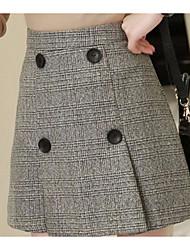 unterzeichnen 2016 Herbst und Winter neue koreanische Paket Hüfte Plaidrock Taille war dünn wollenen Röcken Knopf