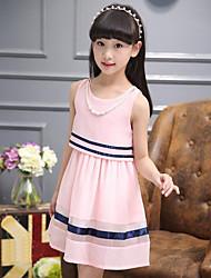 Girl's Striped Dress,Polyester Summer Sleeveless