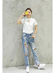 signe 2017 version coréenne était mince couleur lâche de la personnalité de trou de genou de la neuf points pantalons jeans effondrement
