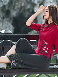 Sign 2017 spring and summer new wide leg pants embroidered Chinese style curved slacks offal