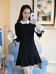 2017 spring ladies temperament Hepburn little black trumpet sleeves Slim female doll collar flounced fishtail dress
