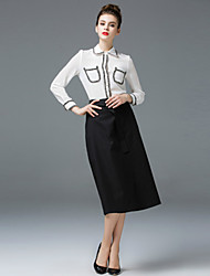 ZIYI Work Simple Spring Summer Blouse Skirt SuitsSolid Stand Long Sleeve Cotton Polyester Silk