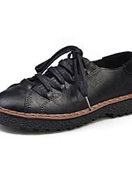 Women's Flats Spring Bullock shoes PU Outdoor Flat Heel Lace-up Black Khaki Walking
