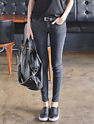 Korean spring models dark gray waist trousers tight Slim was thin stretch pants feet jeans female