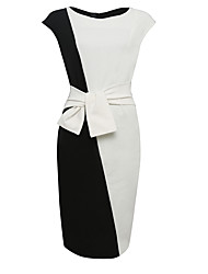 Women's Plus Size Party/Cocktail Vintage Bodycon Dress,Color Block Round Neck Knee-length Sleeveless White Cotton Polyester SummerHigh