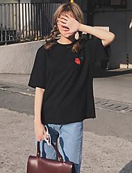 signe corée au début du printemps de nouvelles roses rétro brodées base solide support t-shirt loose à manches courtes