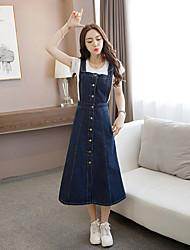 Sign 2017 Korean version of the new denim strap dress women dress put on a large waist strap dress skirt student