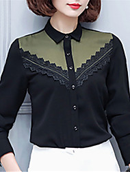 Women's Going out Casual/Daily Work Street chic Spring Shirt,Patchwork Shirt Collar Long Sleeve Polyester Medium