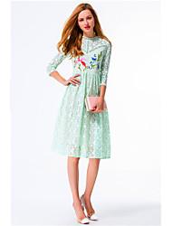 Linea A Vestito Da donna-Casual Sensuale Romantico Fantasia floreale Rotonda Al ginocchio Maniche a ¾ Verde Cotone Poliestere PrimaveraA