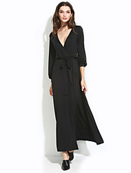 Damen Kleid - Swing Sexy Solide Maxi Polyester / Elasthan Tiefes V