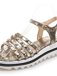 Women's Sandals Summer Gladiator Creepers Comfort Leatherette Dress Casual Creepers Rivet Buckle Black White Gold
