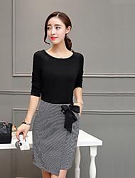 2017 Hitz стильный из двух частей костюм корейской версии тонкой талии был тонкий пакет бедра юбка платье